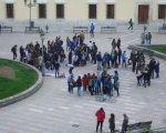 Un momento de la protesta de este miércoles en la plaza san Atón de Badajoz. David Llano