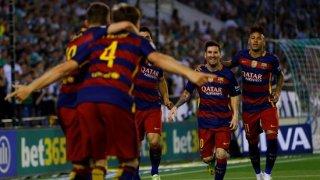 El Barça celebrando el gol de Rakitic contra el Betis