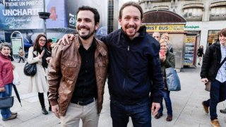 Líder de Izquierda Unida (Alberto Garzón), a la izquierda y líder de Podemos (Pablo Iglesias), a la derecha de la imagen. CEDIDA.