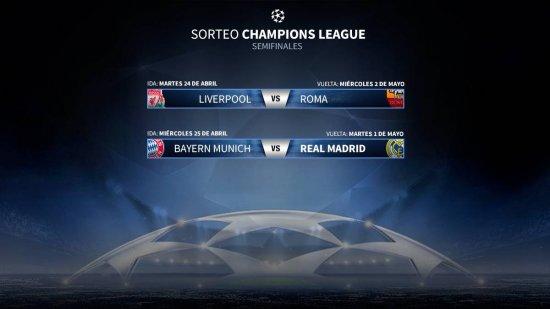 En las semifinales se enfrentaron los equipos, Bayern- Madrid y Liverpool-Roma