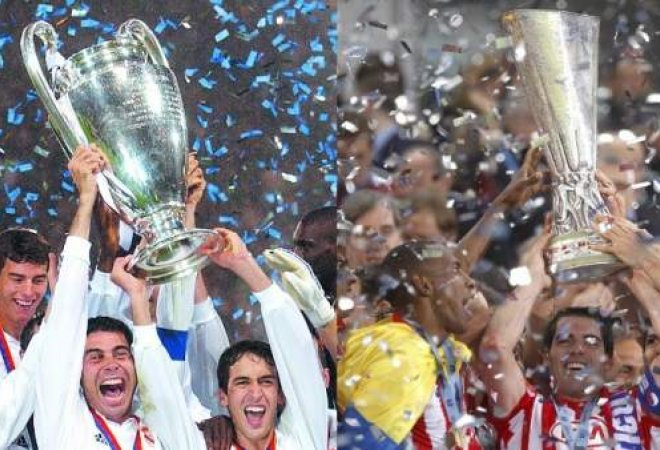 Real Madrid alzando la Champion y Atlético de Madrid alzando la Europa League.