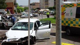 Accidente de glorieta en Mérida, Extremadura